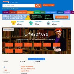 Literature Learning Guides & Teacher Resources