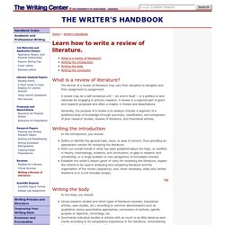 """Review of Literature"" UW-Madison Writing Center Writer's Handbook"