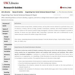 5. The Literature Review - Organizing Your Social Sciences Research Paper - Research Guides at University of Southern California