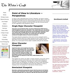 Point of View in Literature -- Perspectives — The Writer's Craft