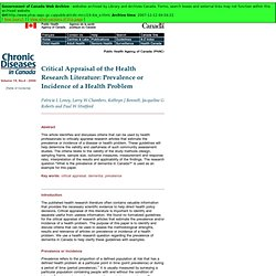 Critical Appraisal of the Health Research Literature: Prevalence or Incidence of a Health Problem