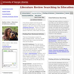 Literature Review Searching in Education
