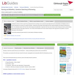 Literature Searching & Reviewing - Nursing and Midwifery - LibGuides at Edinburgh Napier University