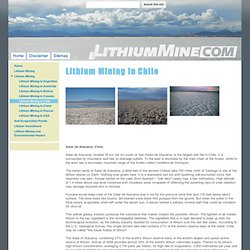 Lithium Mining in Chile - Lithium Mining - The Worldwide Website