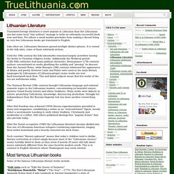Lithuanian Liteature: top Lithuanian books and writers