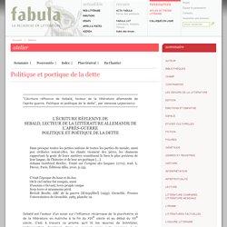Fabula, Atelier littéaire : Politique et poetique de la dette