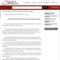 L'Amitié littéraire d'Émile Zola pour Gustave Flaubert