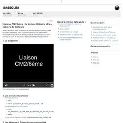 Liaison CM2/6ème : la lecture littéraire et les cahiers de lecteurs - Sassolini