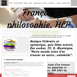 Etude littéraire et syntaxique, Des coches III, 6 Montaigne