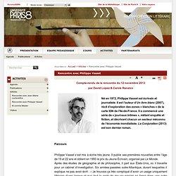 Rencontre avec Philippe Vasset - Master de création littéraire - Université Paris 8