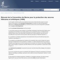 Résumé de la Convention de Berne pour la protection des œuvres littéraires et artistiques (1886)