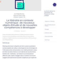 La littératie en contexte numérique : de nouveaux objets d'étude et de nouvelles compétences à développer