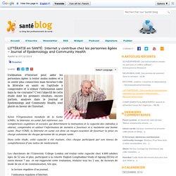 LITTÉRATIE en SANTÉ: Internet y contribue chez les personnes âgées – Journal of Epidemiology and Community Health