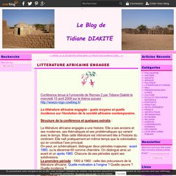 LITTERATURE AFRICAINE ENGAGEE
