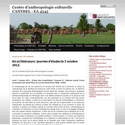 Art et littérature : journée d'études le 7 octobre 2013 - Centre d'anthropologie culturelle CANTHEL - EA 4545