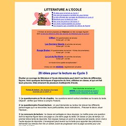 Litterature au Cycle 3