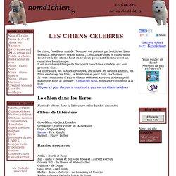 Noms de chiens celebres - litterature, bandes dessinées, dessins animés, cinema, disney, series, actualité, chansons