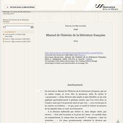 Manuel de l'histoire de la littérature française — Critique littéraire