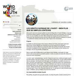 Word of Mouth - Littérature et narration orales - Goethe-Institut