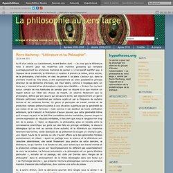 """Pierre Macherey : """"Littérature et/ou Philosophie""""."""