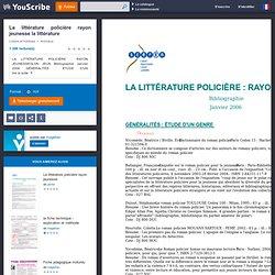 La littérature policière rayon jeunesse la littérature