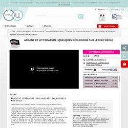 VIDEO - Argent et littérature : quelques réflexions sur le XIXe siècle (Colloque MESHS)