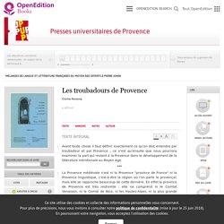 Mélanges de langue et littérature françaises du Moyen Âge offerts à Pierre Jonin - Les troubadours de Provence - Presses universitaires de Provence