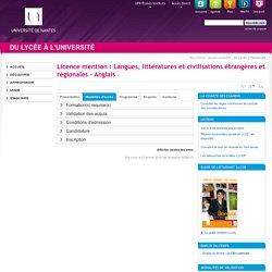Licence mention : Langues, littératures et civilisations étrangères et régionales - Anglais - Onglet Modalités d'accès