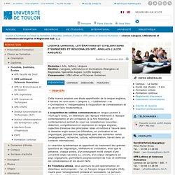 Licence Langues, Littératures et Civilisations Etrangères et Régionales Spé. (...)