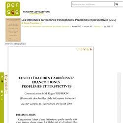 Les littératures caribéennes francophones. Problèmes et perspectives