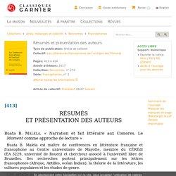 Les Littératures francophones de l'archipel des Comores - Résumés et présentation des auteurs