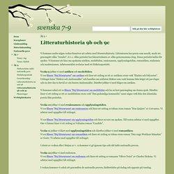 Litteraturhistoria 9b och 9c - svenska 7-9