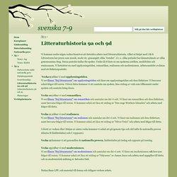 Litteraturhistoria 9a och 9d - svenska 7-9