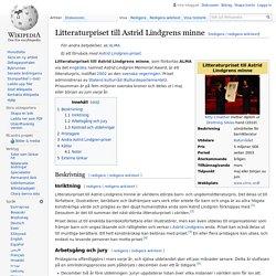 Litteraturpriset till Astrid Lindgrens minne