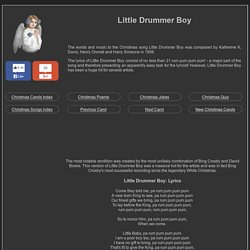 LITTLE DRUMMER BOY lyrics ***