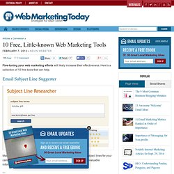 10 Free, Little-known Web Marketing Tools