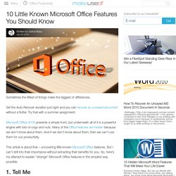 10 Little Known Microsoft Office Features You Should Know