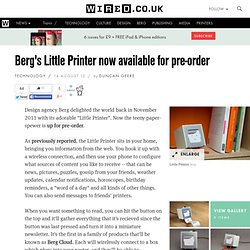 Berg's Little Printer now available for pre-order