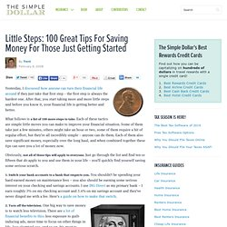 Little Steps: 100 Great Tips For Saving Money For Those Just Getting Started