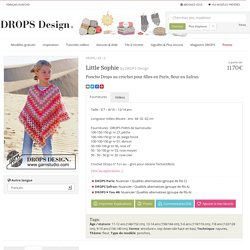 Little Sophie / DROPS 89-6 - Poncho Drops au crochet pour filles en Paris, fleur en Safran - Free pattern by DROPS Design