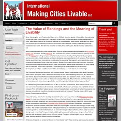 The Value of Rankings and the Meaning of Livability