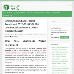 Bihar Rural Livelihoods Project Recruitment