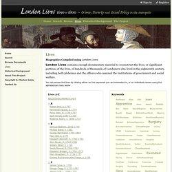 Lives - Lives - London Lives