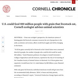 U.S. could feed 800 million people with grain that livestock eat, Cornell ecologist advises animal scientists