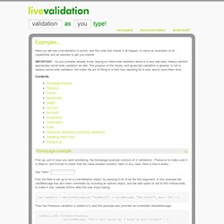 Live Validation - Examples