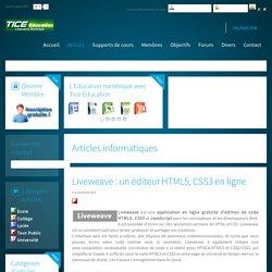 Liveweave : un éditeur HTML5, CSS3 en ligne