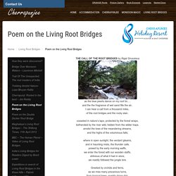 Item 19 - Poem on the Living Root Bridges