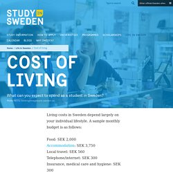 Living costs when studying in Sweden