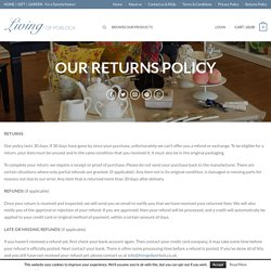 Living of Porlock Returns Policy Living
