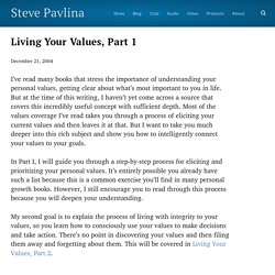 Living Your Values, Part 1 - Steve Pavlina